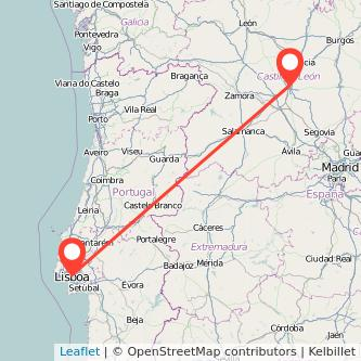 Mapa del viaje Lisboa Valladolid en bus