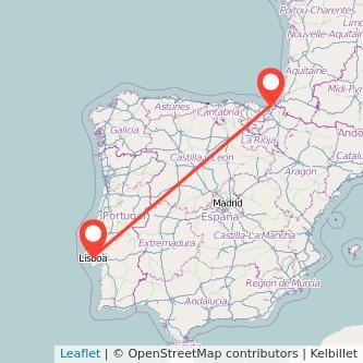 Mapa del viaje Lisboa San Sebastián en bus