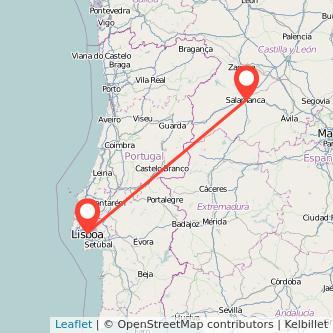 Mapa del viaje Lisboa Salamanca en tren