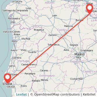 Mapa del viaje Lisboa Miranda de Ebro en tren