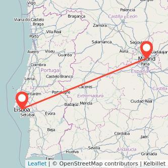 Mapa del viaje Lisboa Madrid en bus
