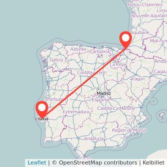 Mapa del viaje Lisboa Irún en tren