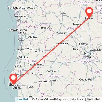 Mapa del viaje Lisboa Burgos en tren