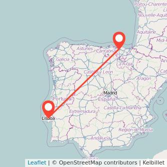 Mapa del viaje Lisboa Bilbao en bus