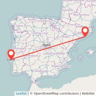 Mapa del viaje Lisboa Barcelona en tren