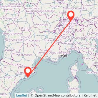 Mapa del viaje Zúrich Barcelona en bus