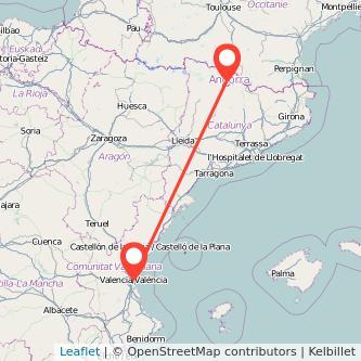 Mapa del viaje Andorra Valencia en bus