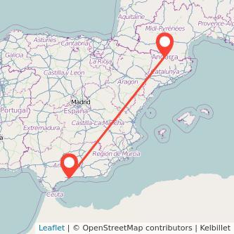 Mapa del viaje Andorra Málaga en bus