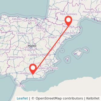 Mapa del viaje Andorra Granada en bus