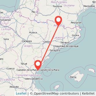 Mapa del viaje Andorra Castellón en bus