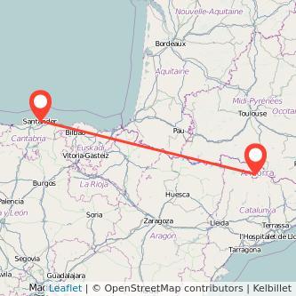 Mapa del viaje Andorra Santander en bus