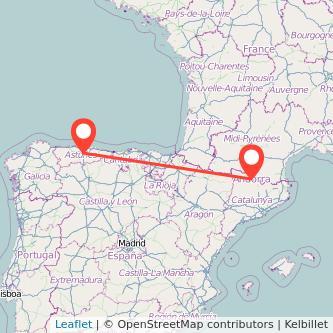 Mapa del viaje Andorra Oviedo en bus