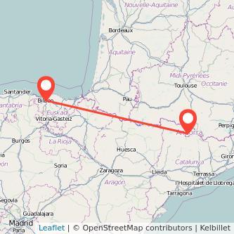 Mapa del viaje Andorra Bilbao en bus