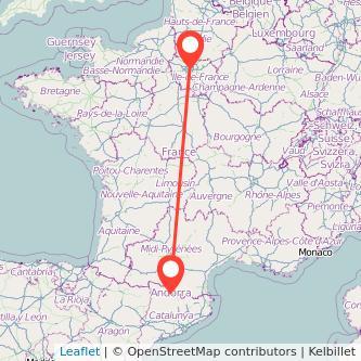 Mapa del viaje Andorra París en bus