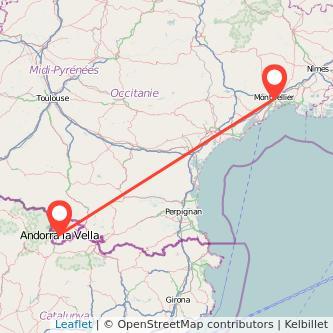 Mapa del viaje Andorra Montpellier en bus