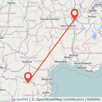 Mapa del viaje Andorra Lyon en bus